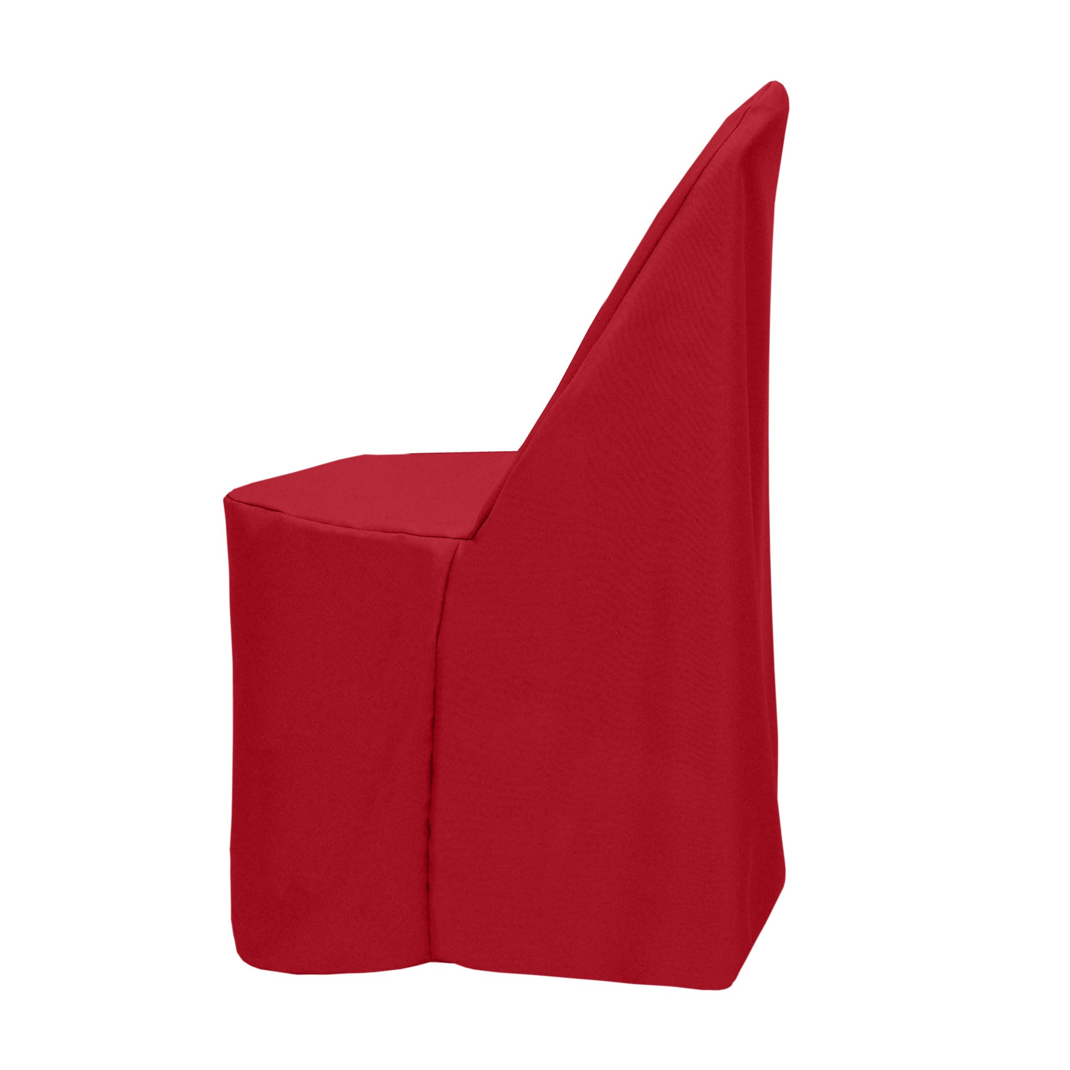 Ultimate Textile (10 Pack) Polyester Folding Chair Cover - for Metal or Plastic Folding Chairs, Holiday Christmas Red by Ultimate Textile