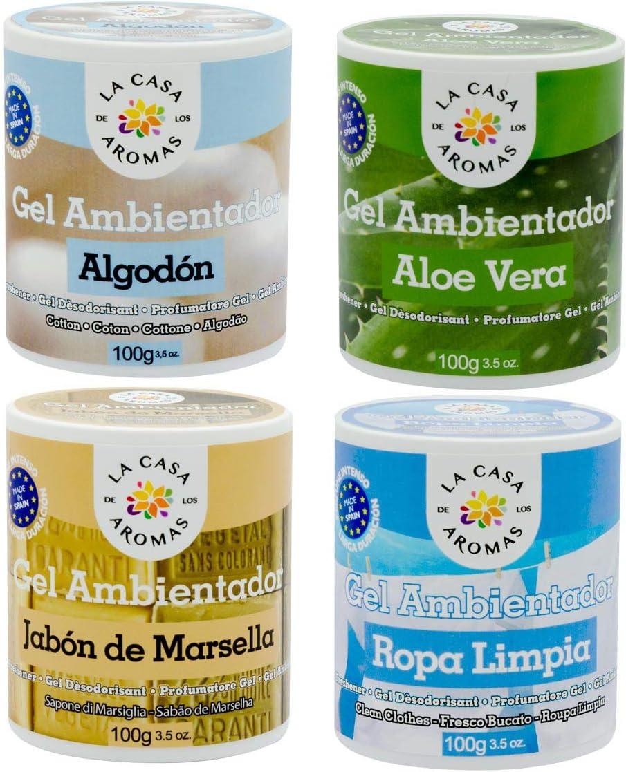 lacasadelosaromas 4 Botes Ambientador Gel Algodón, Aloe Vera, Jabón de Marsella y Ropa Limpia: Amazon.es: Hogar