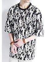 (モノマート) MONO-MART 幾何学模様 オーバーサイズ カットソー プルオーバー ストレッチ 伸縮性 BIG サマー Tシャツ 夏