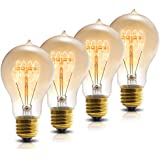 DORESshop A19 Vintage Light Bulbs, Antique 40W Incandescent Edison Light Bulbs, E26 Standard Medium Base, Dimmable Decorative