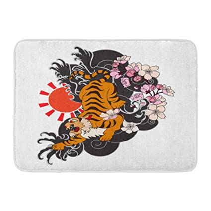 e527f6a2045b1 Image Unavailable. Image not available for. Color: Emvency Bath Mat Black Japanese  Tiger with Flower for Tattoo ...