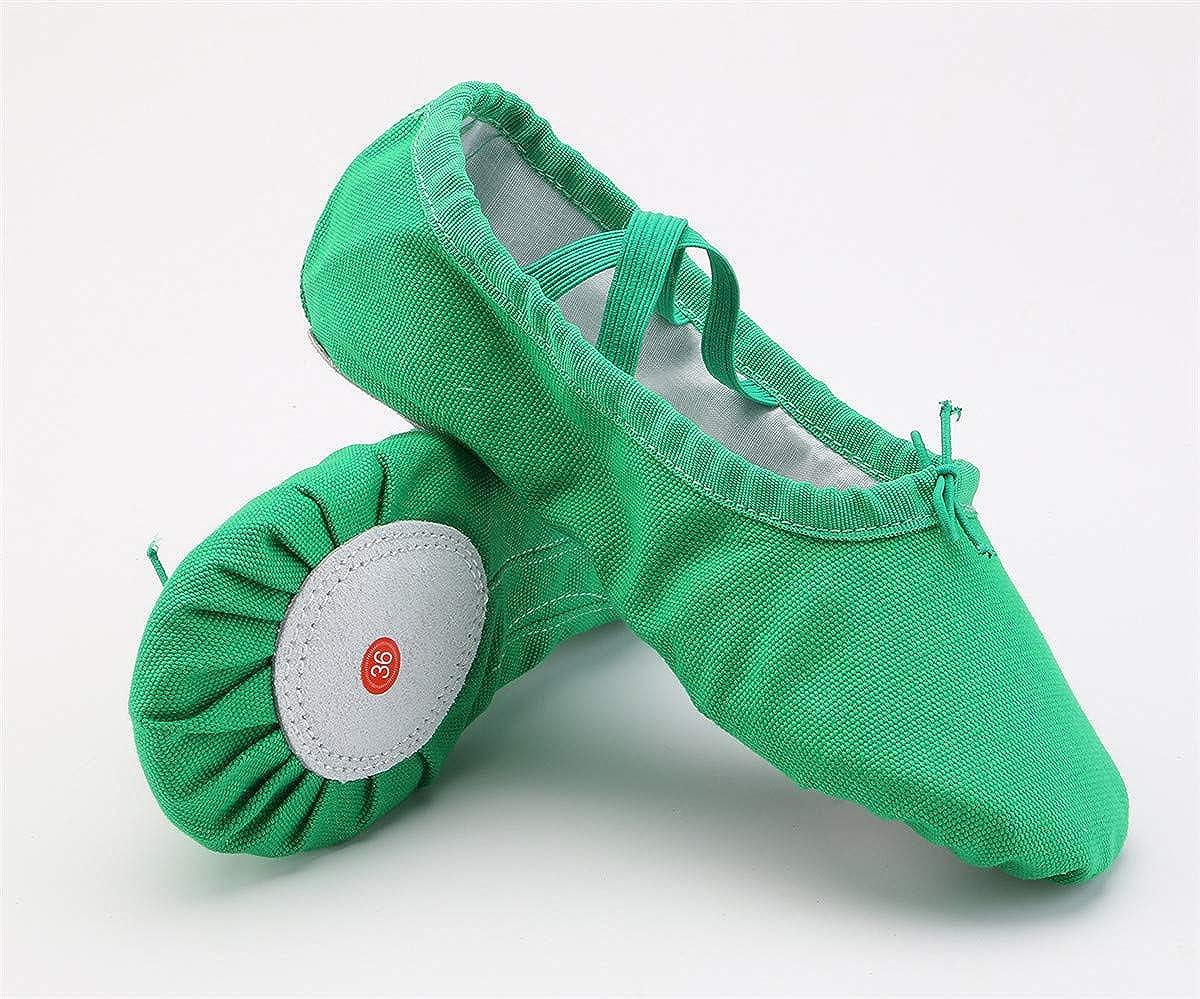 staychicfashion Girls Canvas Split-Sole Ballet Slippers Practice Dancing Yoga Flat Shoes