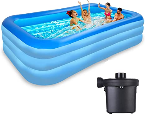 Raoccuy Above Ground Pool Inflatable Swimming Outdoor Inflatable Kiddie Pools120x70x23 5in Family Swimming Pool Swim Center Garden Backyard Pvc Thickened Abrasion Resistant Kitchen Dining