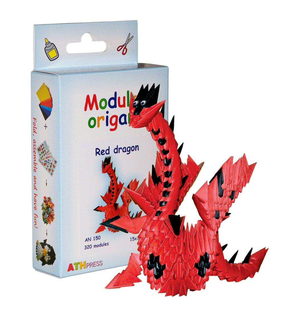 320-teiliges Modul-Origami, Kleines Papierdrachenset, rot Modular Origami AN150