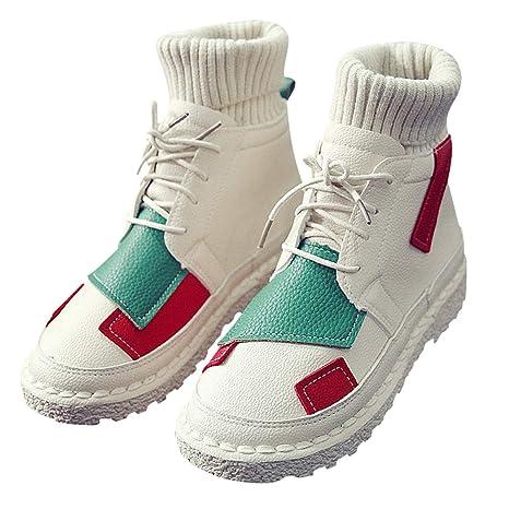 KOKQSX-Martin Botas Calcetines Zapatos Botas el otoño y el Invierno Zapatos de Mujer Baja