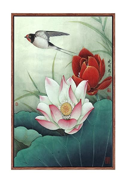 Amazoncom Chinese Wind Lotus Flower Printings Canvas Wall Arts