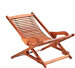 VIFAH V157 Outdoor Wood Folding Lounge, Natural Wood Finish, 25 by 40 by 28-Inch