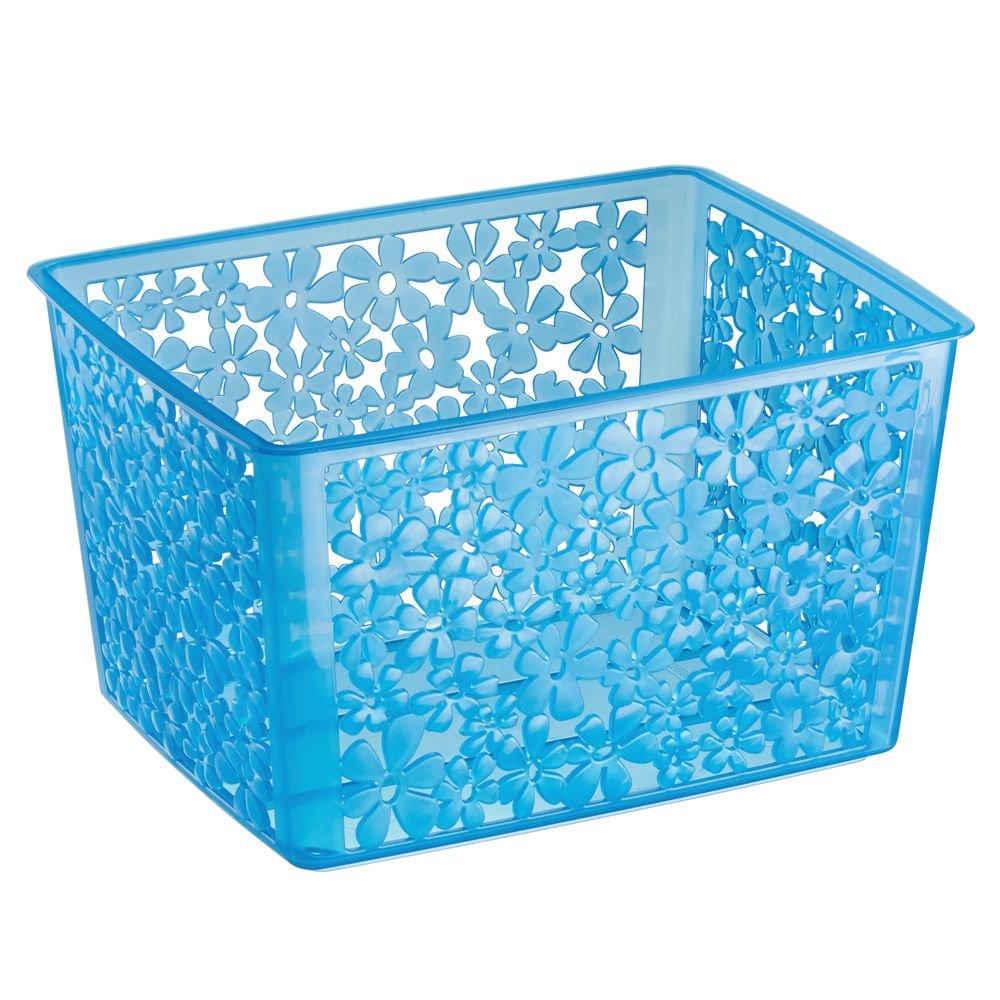 InterDesign Blumz Household Storage Basket for Office, Garage, Bathroom and More, 8.5 x 10.8 x 14.1, White 59331