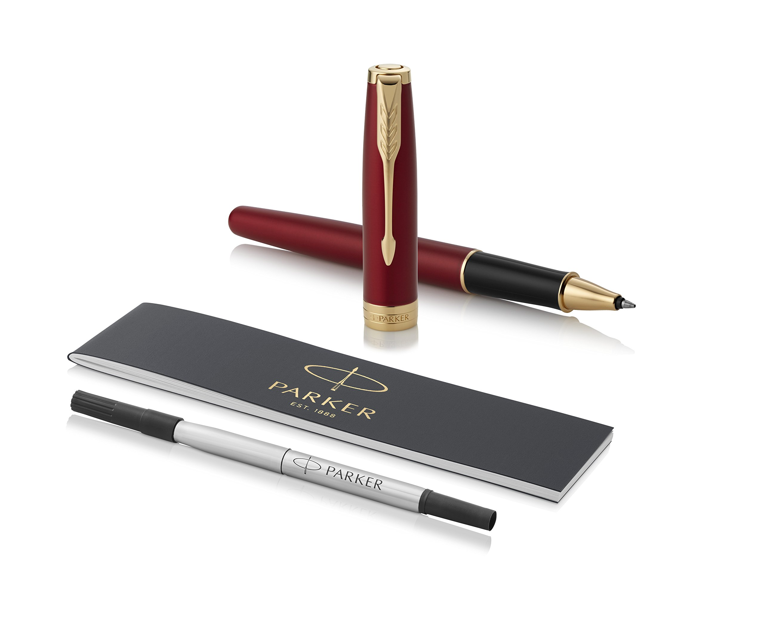 PARKER Sonnet Rollerball Pen, Red Lacquer with Gold Trim, Fine Point Black Ink (1931475)