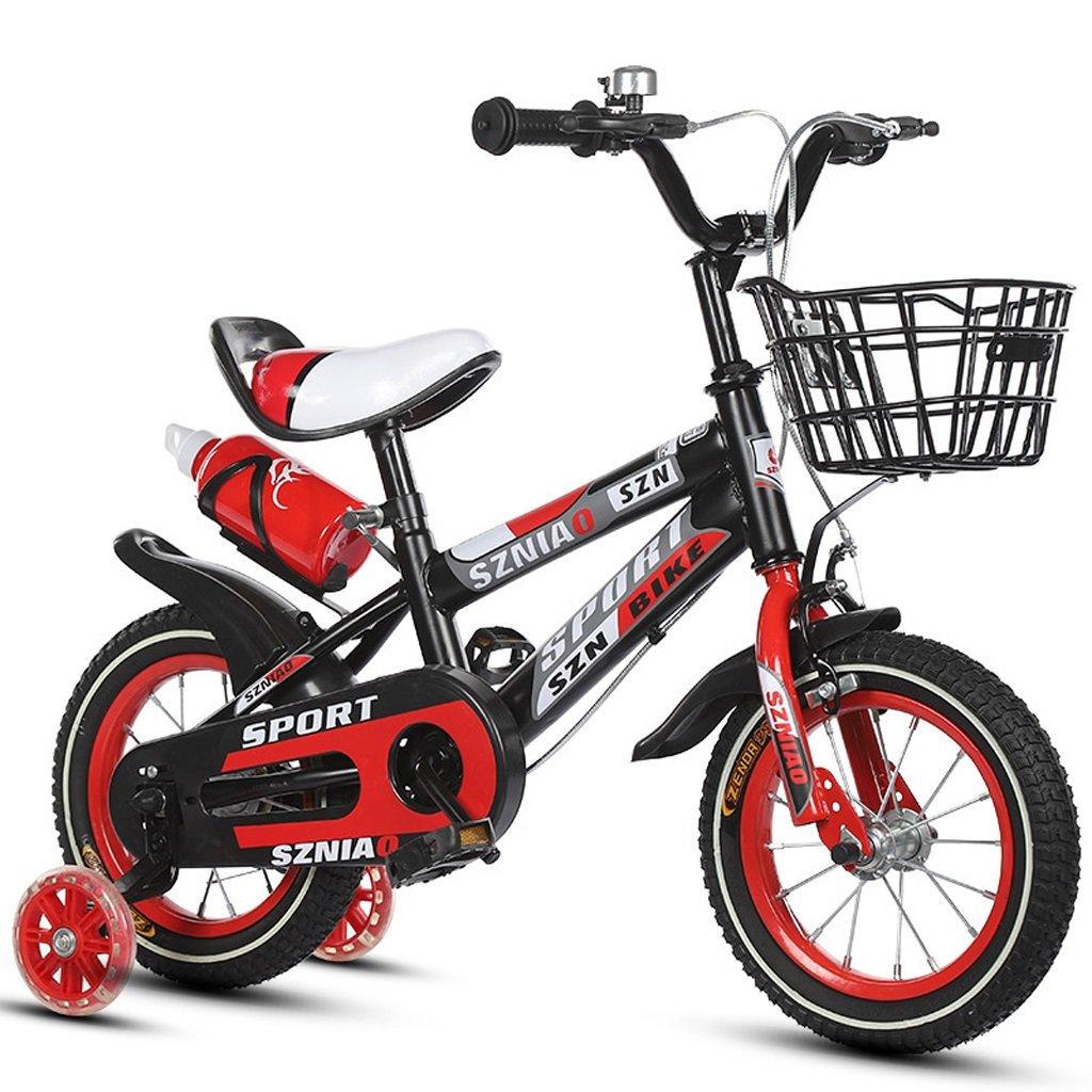 子供の自転車18インチの男性と女性の赤ちゃんのキャリッジ6-9歳の子供の自転車高炭素鋼フレーム、オレンジ/青/赤 (Color : Red) B07CZYKJCP