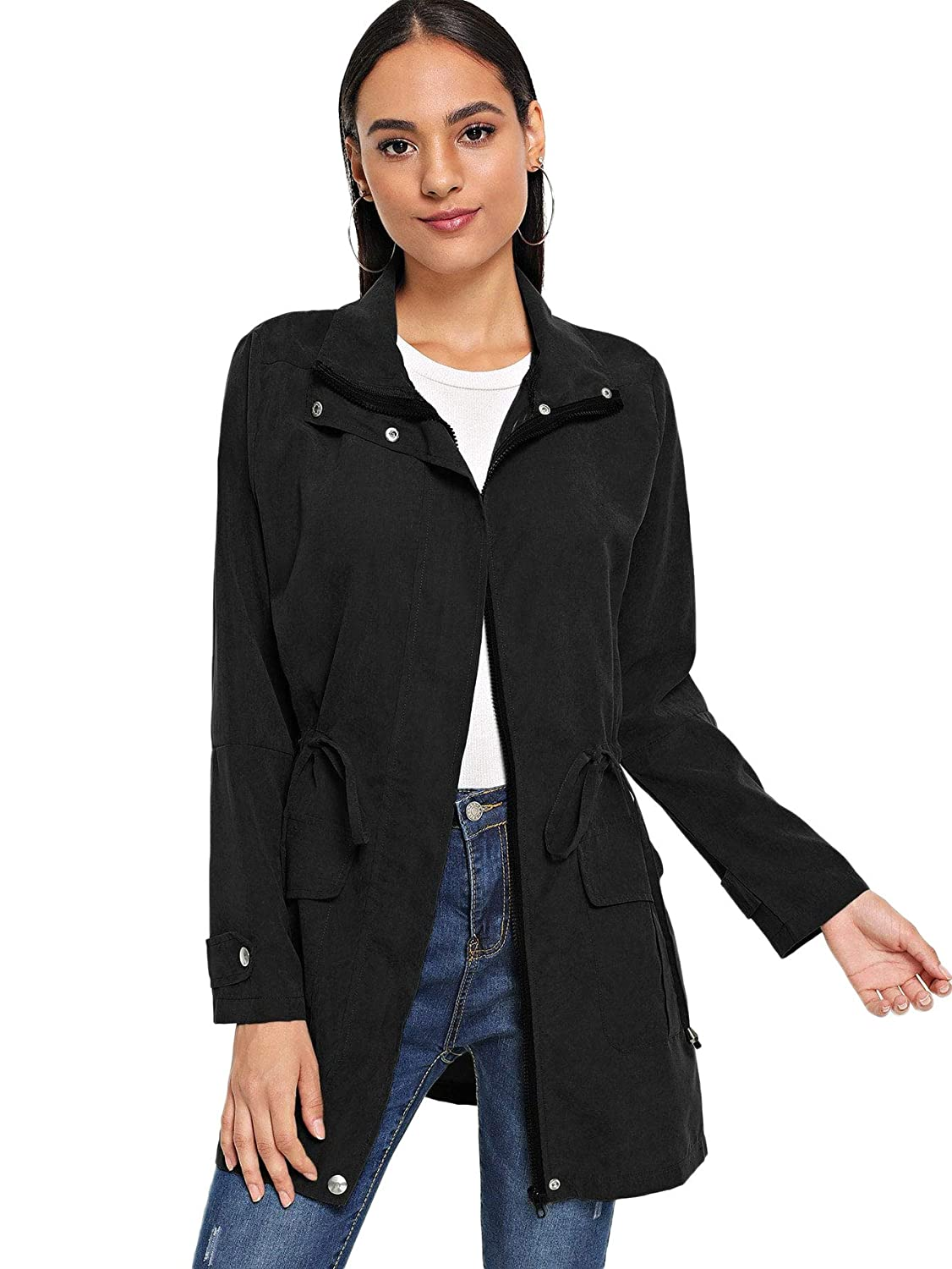 Black Floerns Women's Military Drawstring Zip Up Jacket Coat with Pocket