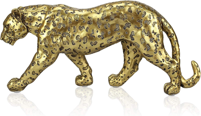 ALIWINER Polyresin Leopard Statue Resin Cheetah Figurine Animal Home Decor Gold
