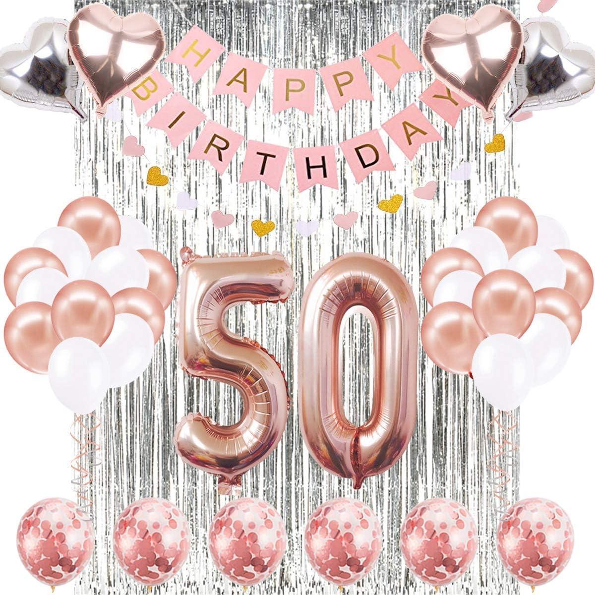 Decoraciones de Cumpleaños Número 50 Banner Globo Decoraciones de Cumpleaños Número 50 Artículos de Fiesta Regalos Para Mujeres Globos Número 50 de Oro Rosa, Globos de Confeti de Oro Rosa