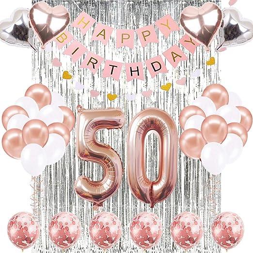 Decoraciones de Cumpleaños Número 50 Banner Globo Decoraciones de Cumpleaños Número 50 Artículos de Fiesta Regalos Para Mujeres Globos Número 50 de ...