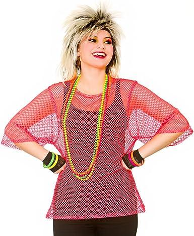 Fishnet Top Pink  Women/'s Fancy Dress Costume