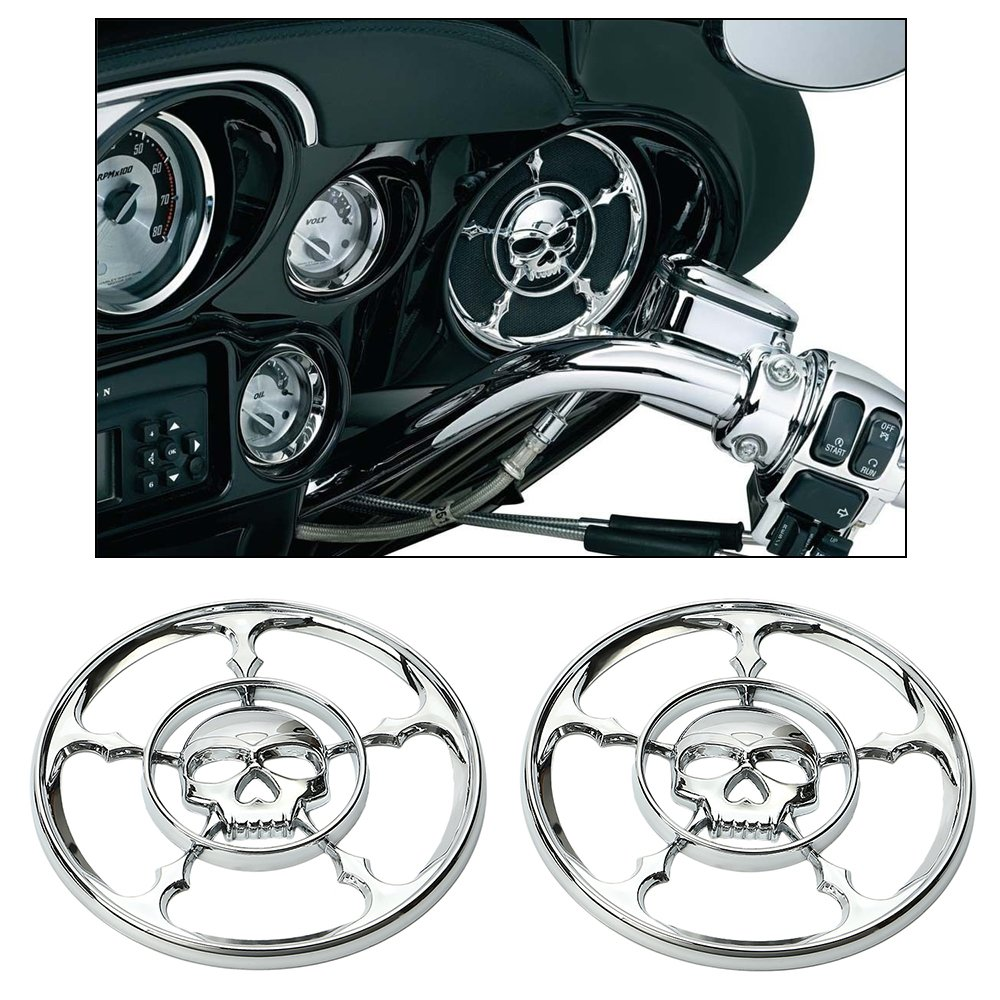 ECLEAR Chrome Rear Front Speaker Cover Horn Grill Trim For Harley Touring Electra Street Tri Glide 1996-2013 (Skull)