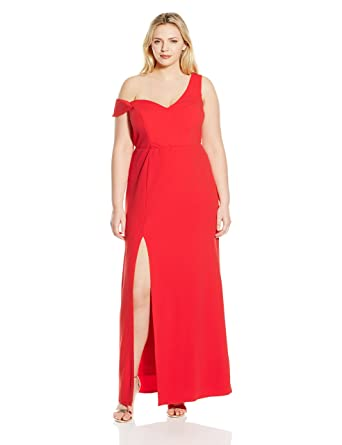 d4ede9350ad ABS Allen Schwartz Women s Plus-Size Sleeveless Asymmetric Off Shoulder  Gown at Amazon Women s Clothing store