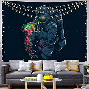 "Space Tapestry,Galaxy Tapestry Cool Trippy Astronaut Spaceman Tapestry,Fantasy Planet Starry Jellyfish Universe Stars Decor Psychedelic Trippy Bohemian Hippie Wall Hanging Tapestry For Men Woman& Bedroom Living Room Dorm(78""L*59""W)"
