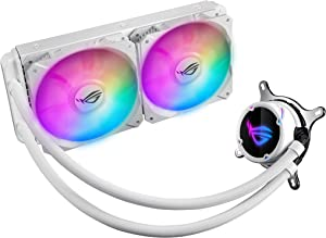 Asus ROG Strix LC 240 All-in-one White Liquid CPU Cooler with Aura Sync, Dual White ROG 120mm addressable RGB Radiator Fans and Reinforced Sleeved tubing
