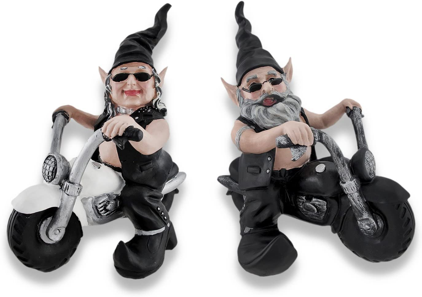Zeckos Nowaday Gnomes Motorcycle Bikers- Male Dude on Black Bike and Female Chick Gnome on White Cycle Figurine Statue