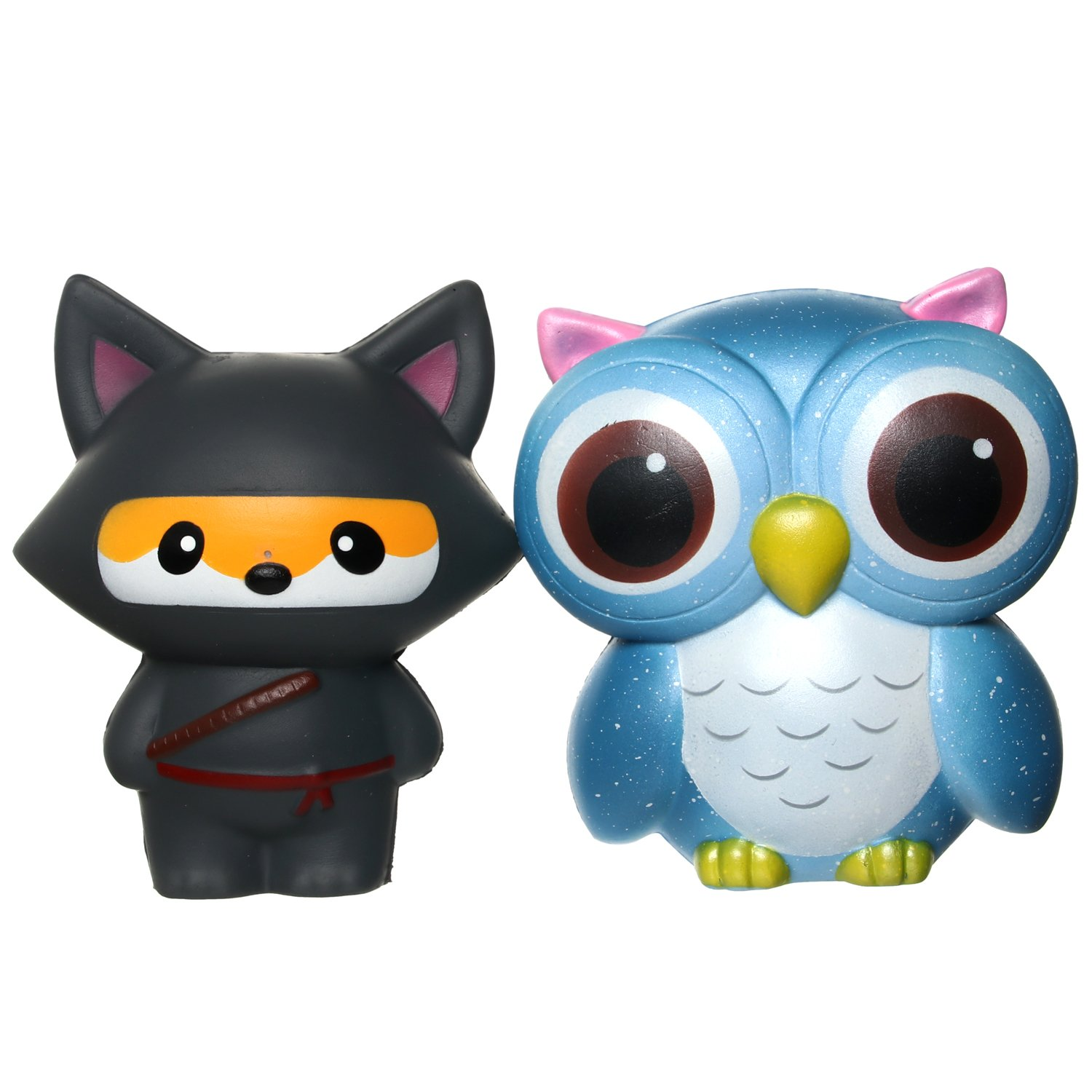 TEEGOMO Slow Rising Gaint Blue Owl with Night Ninja Fox (Night Watch Friends) for Animal Jumbo Squishy Stress Relief Squeeze Decorations Kids Toy and Gift
