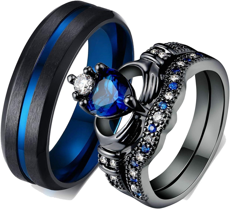 Daesar 1 Par Anillos Acero Inoxidable Parejas Anillo Pareja Negro Anillo Redondo Tirado Claddah Circonita Azul