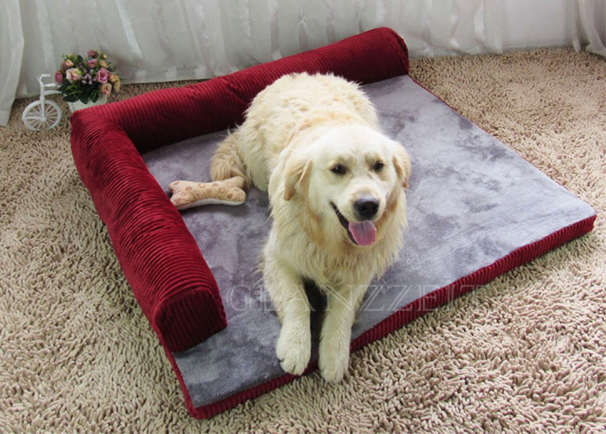 Burgundy SGlanzzeit Dog Bed Pet Sofa Cushion Bolster Warm Mattress for Small Medium Large Breeds (XL, Brown)