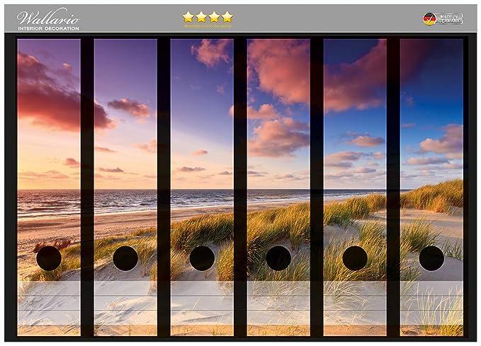 Wallario Ordnerrücken selbstklebend 12 schmale Ordner Leuchtturm Düne Strand
