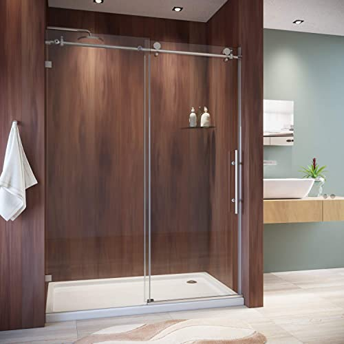 SUNNY SHOWER Frameless Shower Door 3 8 in. Clear Glass Sliding Shower Enclosure with Brushed Nickel Finish Exposed Roller Shower Glass Door, 60 in. W x 79 in. H