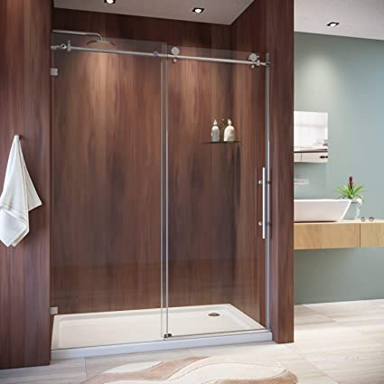 . SUNNY SHOWER Frameless Shower Door 3 8 in  Clear Glass Sliding Shower  Enclosure with Brushed Nickel Finish Exposed Roller Shower Glass Door  60  in  W