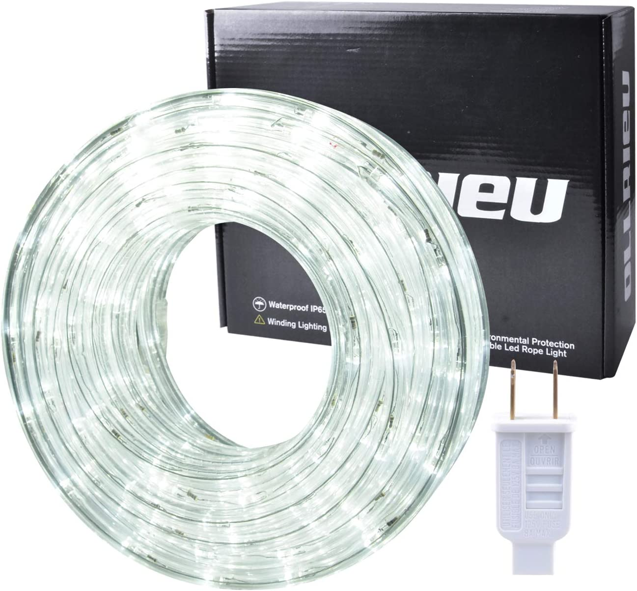 ollrieu LED Rope Lights,Flexible 50ft Waterproof Rope Lighting Strip for Indoor/Outdoor Use,Daylight White 6000K,360 LEDs 110V UL Listed Power Plug in,Connectable Light Strip for Patio Bedroom Ceiling