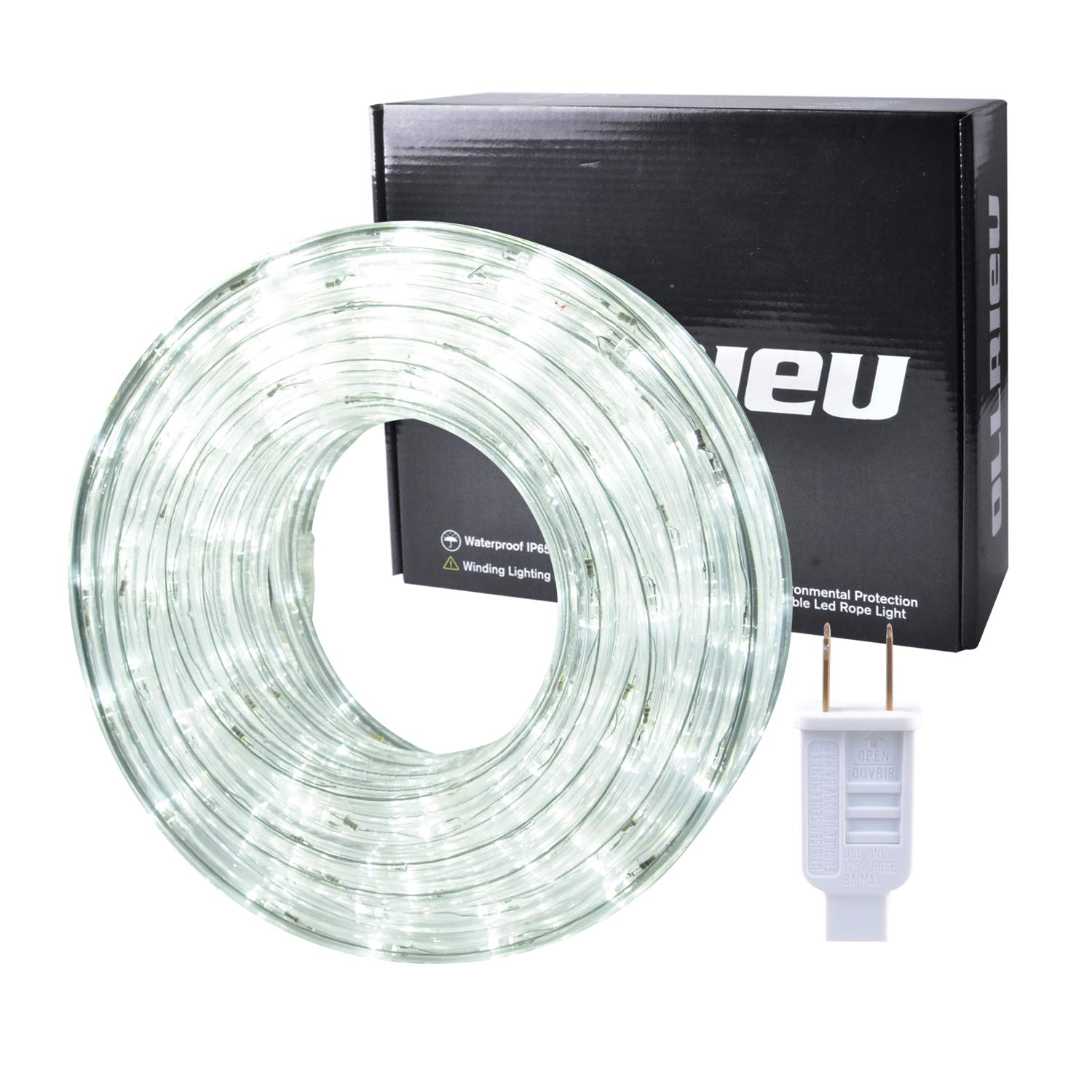 ollrieu 50ft/15m LED Rope Lights,Waterproof 360 Led Strip Light Daylight White, 110V Power Plug Built-in Fuses, Connectable Indoor Outdoor Decoration Lighting for Patio Cabinet Room Party Kitchen