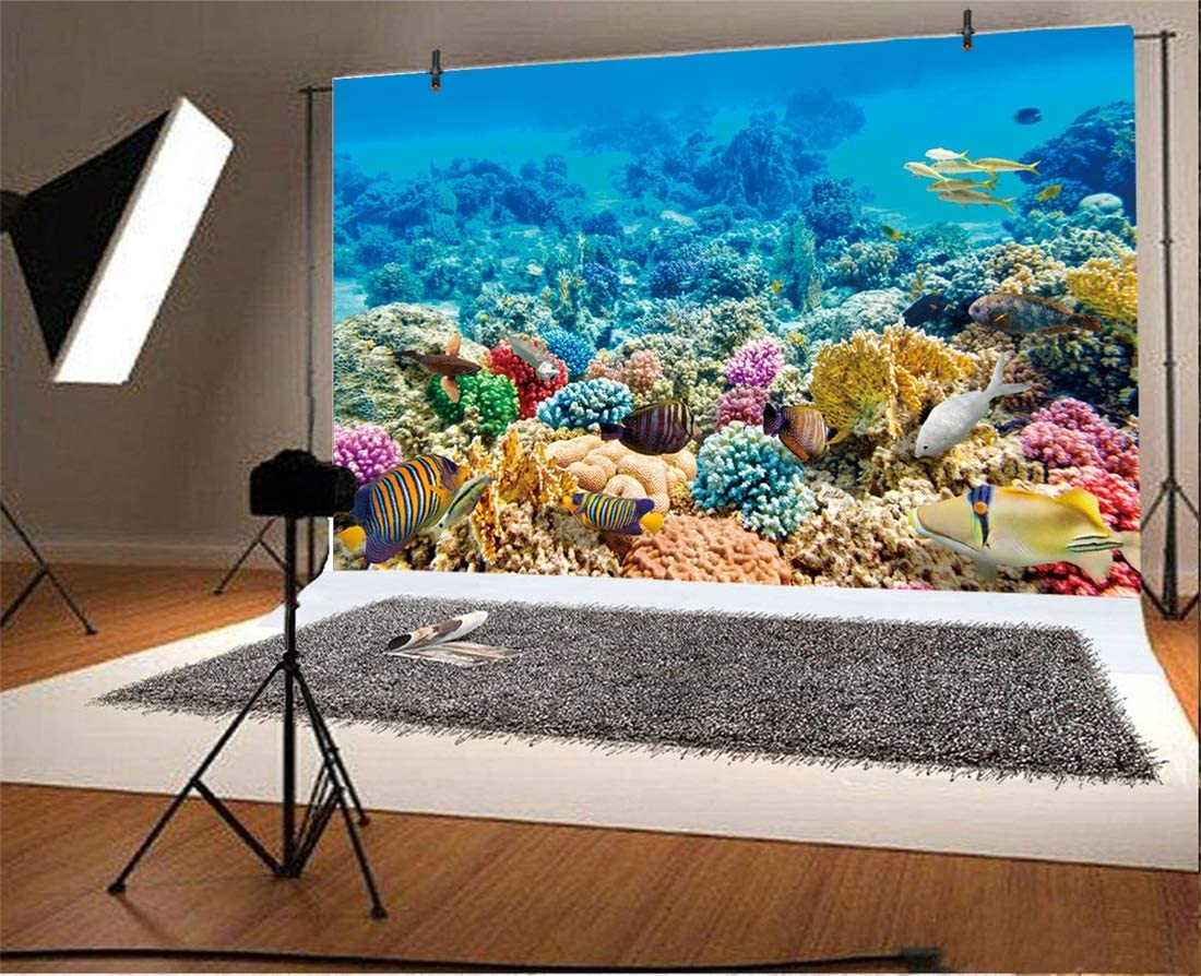 7x10 FT Watercolor Vinyl Photography Background Backdrops,Vintage Inspired Seaweed Coral Algee and Fish Illustration Retro Aquarium Theme Background Newborn Baby Portrait Photo Studio Photobooth Props