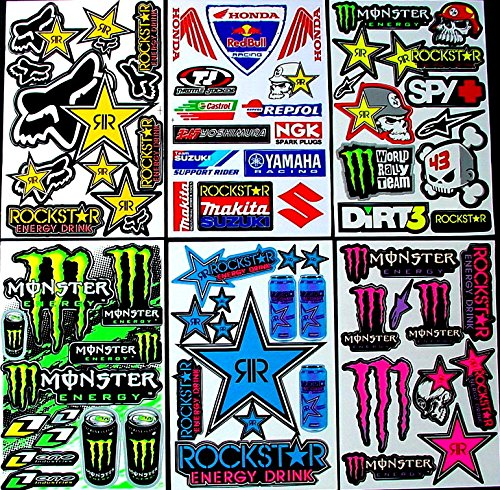 6 Sheet MX Motocross Die Cut Self Adhesive Vinyl Stickers Decals S6SW great for Boys bike scooter moped bmx