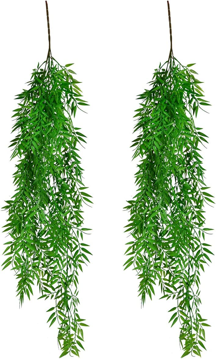ABILITH 2 Pack Artificial Plants Boston Fern Fake Greenery Hanging Ivy Decor Plastic Greenery for Wall Indoor Outdoor Hanging Baskets Wedding Garland Decor (Green)