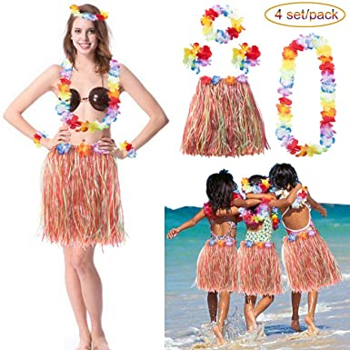 LONGBLE 4 Sets Kids Child Girls Elastic Hawaiian Hibiscus Grass Hula Skirts Value Set Costume Luau  sc 1 st  Amazon UK & LONGBLE 4 Sets Kids Child Girls Elastic Hawaiian Hibiscus Grass Hula ...