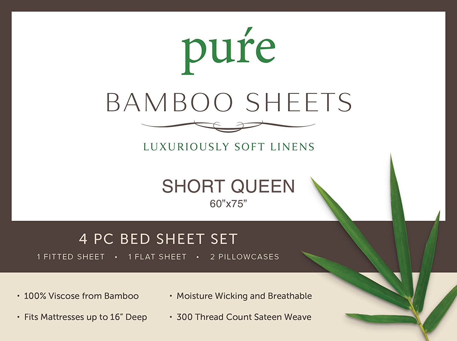 "Pure Bamboo Sheets Short Queen Sheets for RV or Camper (60""x75"") - 100% Bamboo Luxuriously Soft Bed Sheets (Sand) - ✔️ MADE FROM THE HIGHEST QUALITY ORGANIC PURE BAMBOO - Never blended with others fabrics or fibers ✔️ SHORT QUEEN 60""X75"" BEDDING SET INCLUDES: 1 fitted sheet, 1 flat sheet and 2 queen size envelope-style pillowcases -All with double-stitched seams ✔️ DEEP POCKETS FIT UP TO 16"" MATTRESS - Fitted sheet has deep pockets, a fully elasticized bottom and box fit stitching, ensuring a perfect snug fit that stays neatly in place - sheet-sets, bedroom-sheets-comforters, bedroom - 71A0z3iymhL -"