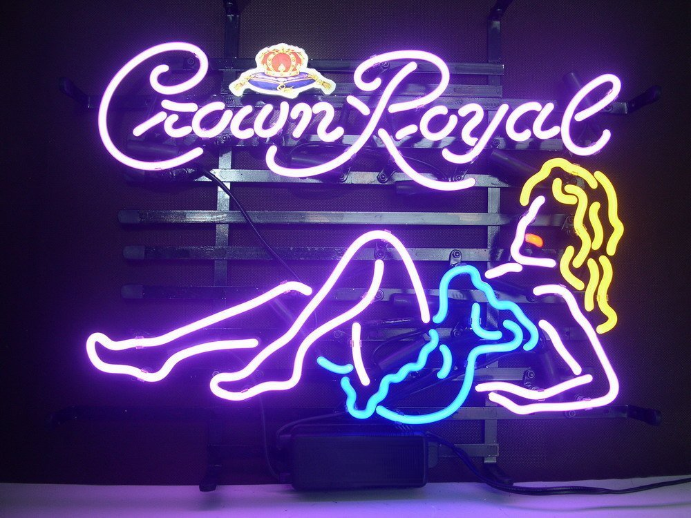 QUEEN SENSE® Crown Royal Whiskey Girl Real Glass Neon Light Sign Home Beer Bar Pub Recreation Room Game Room Windows Garage Wall Sign H107X