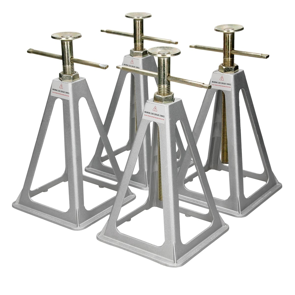 ECD-Germany 4x Caravan Axle Stands Stabilising Jacks Static SupportAluminium Leveller Floor Ratchet 4000kg Additional Security ECD Germany