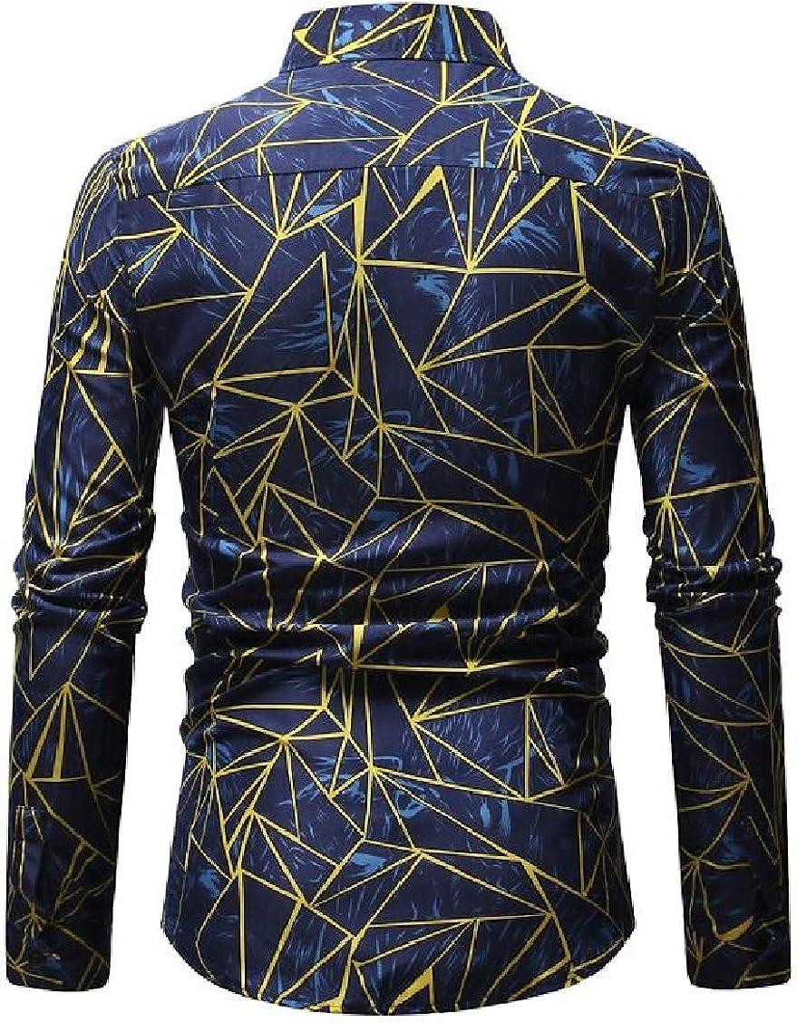 Hajotrawa Mens Button Down Turn Down Collar Long Sleeve Geometry Print Shirts