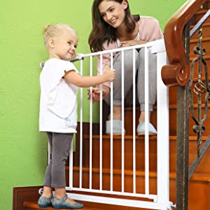 Baby Gates for Doorways and Stairs Dog Gates for The House, 30-35 inches - Indoor Safety Gates for Kids or Pets, Walk Through Metal Gate Pressure Mount Auto Close