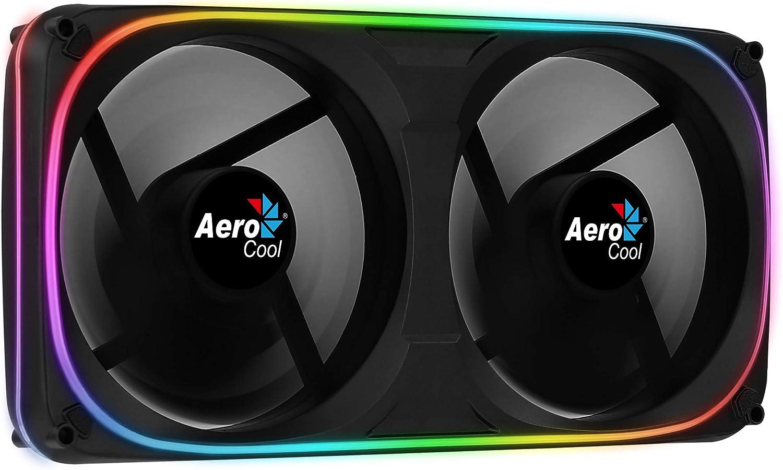 Aerocool ASTRO, ventilador doble PC 12cm, RGB Dual, soporte antivibración, negro
