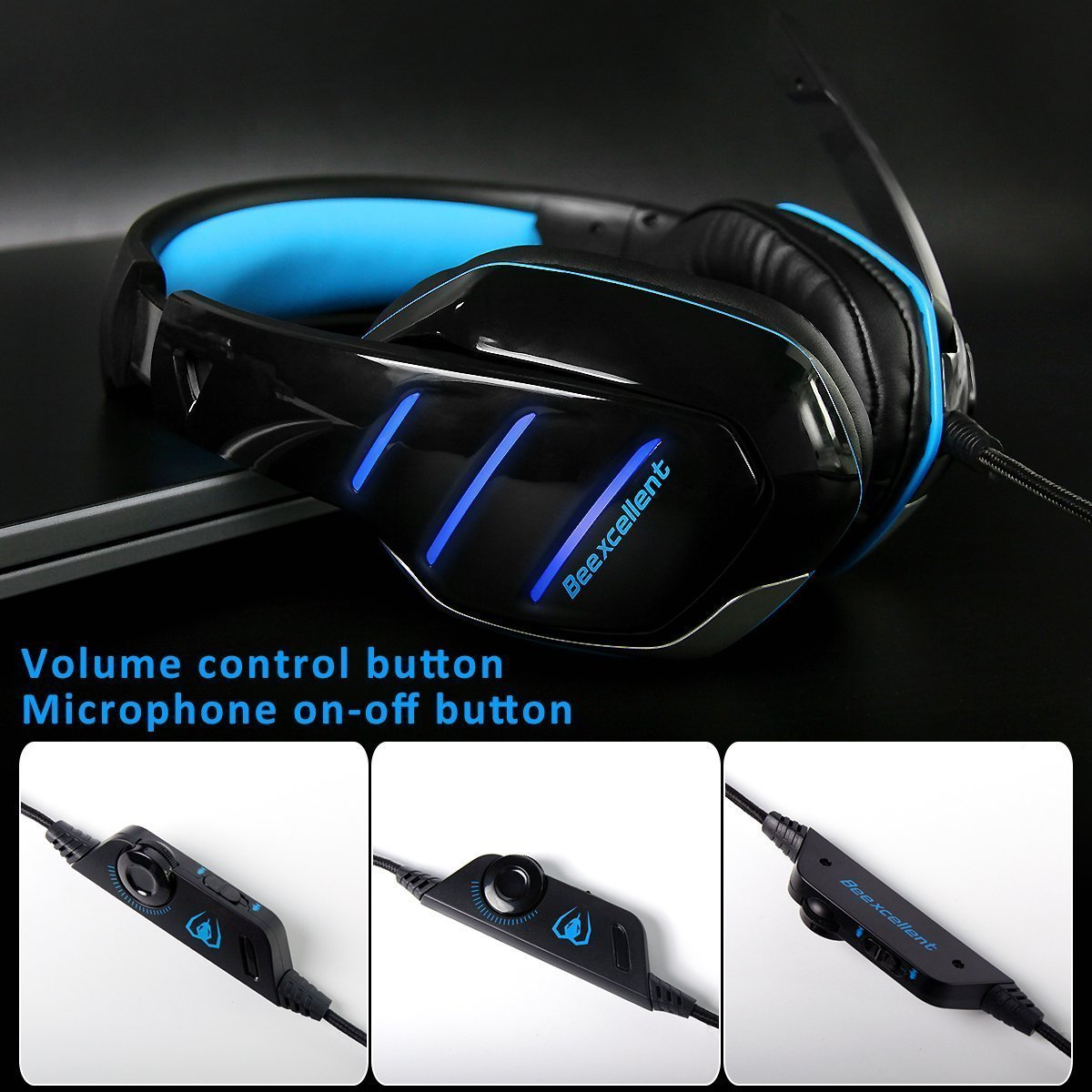 Gaming Headset GM-3 with Microphone for New Xbox 1 PS4 PC Cellphone Laptops Computer - Surround Sound, Noise Reduction Game Earphone-Easy Volume Control with LED Lighting 3.5MM Jack(Black+Blue)