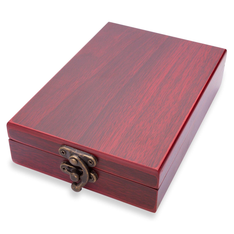 Rominox Wein-Set mit pers/önlicher Laser-Gravur Sommeliermesser und Flaschenverschluss aus Edelstahl in edler Holzbox