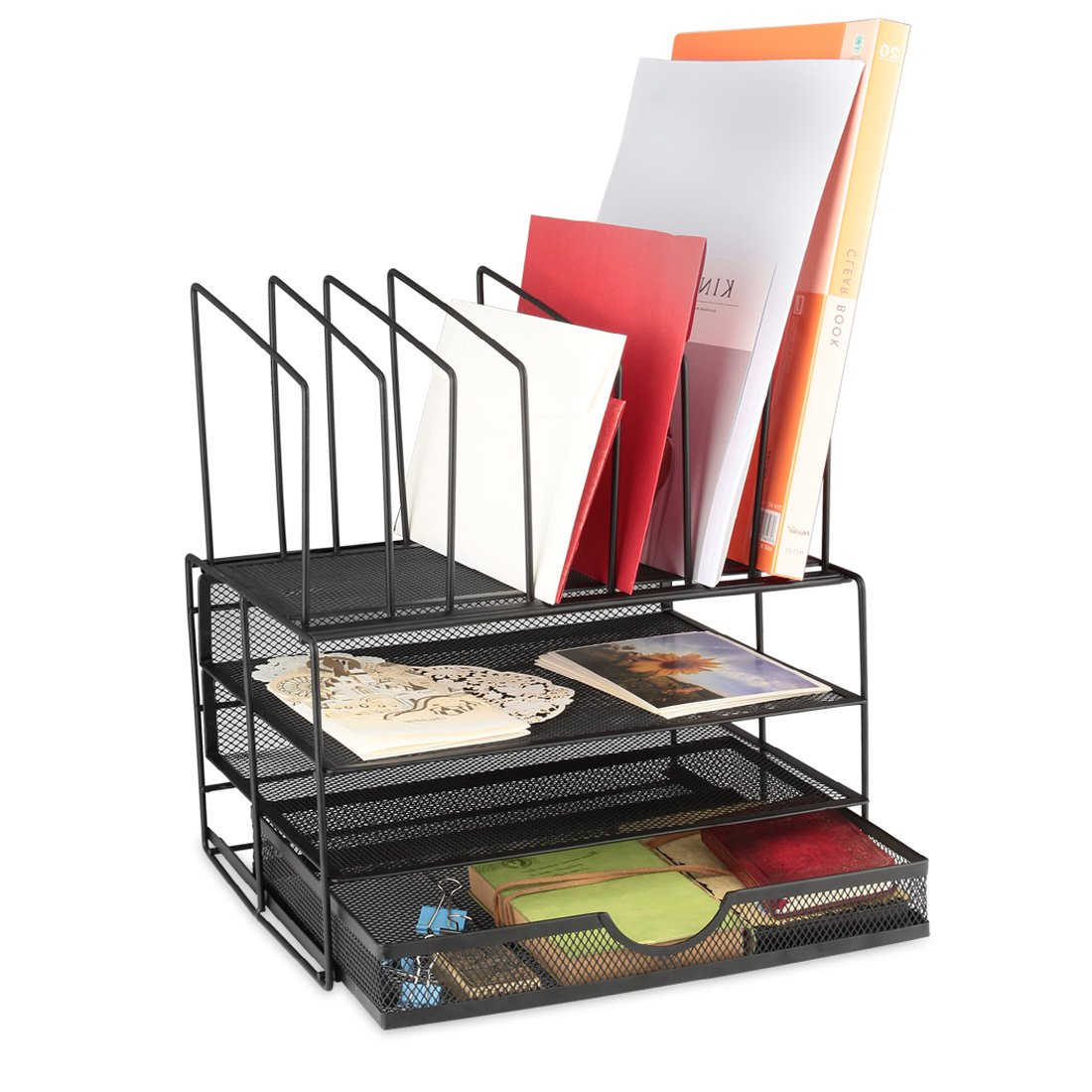 Samstar 3 Tier Desk Paper Organizer Letter Tray with Sliding Drawer and 7 Upright Sections,Office Desktop File Organizer Mail Sorter, Black