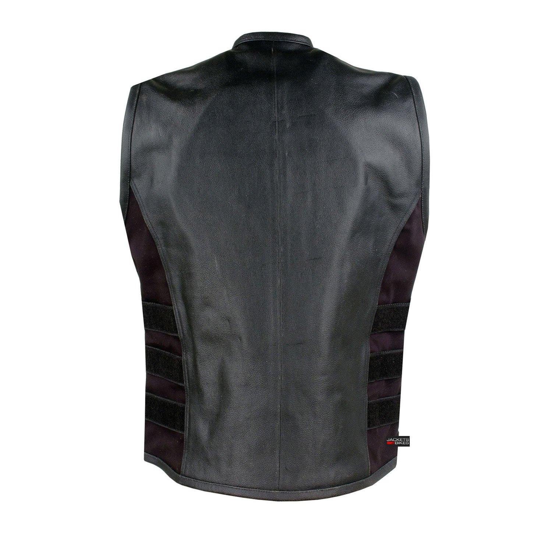 New Mens Armor Biker Motorcycle Leather Adjustable Vest Stylish Black