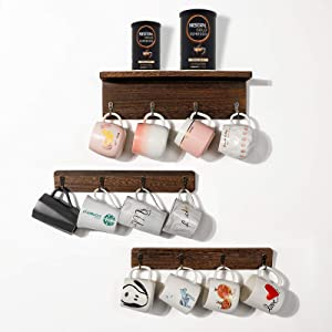 Ourwarm Coffee Mug Holder, Coffee Cup Holder Wall Mounted, Wood Rustic Coffee Mug Racks for Wall with 12 Hooks, Coffee Cup Rack Mug Organizer for Kitchen Home Office Coffee Bar Display Storage Decor