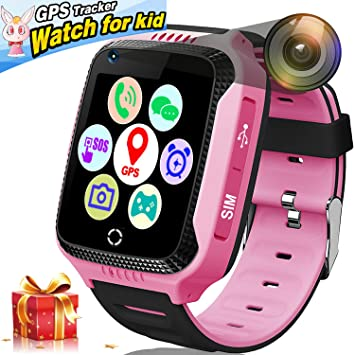ONMet - Reloj inteligente con cámara para niños, con rastreador GPS, linterna, juego