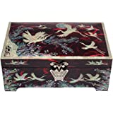 Mother of Pearl Asian Lacquer Wooden Red Bird Moon Pine Tree Men's Jewellery Case Trinket Keepsake Treasure Gift Box Organizer