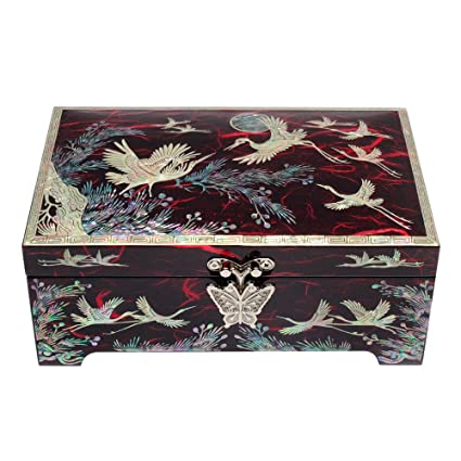De madera lacada y dibujos de madreperla Joyero y caja organizadora, caja de regalo